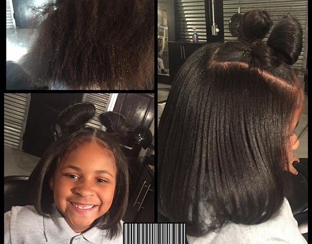 Minnie Mouse ears 💕 Silk press, trim & treatment!!!! The best age to start healthy hair care #TiffaneNicol #atlantasilkpress #atlantahealthy