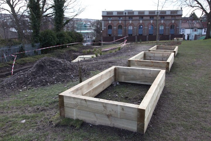 Sleeper raised flower beds
