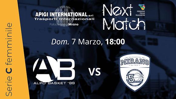 Alpo vs Apigi Mirano | Dom. 7 Marzo, ore 18:00