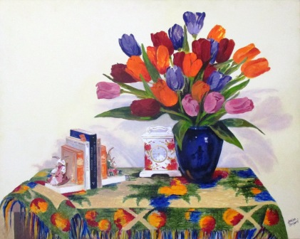Still Life with Tulips, the Artist's Reflection