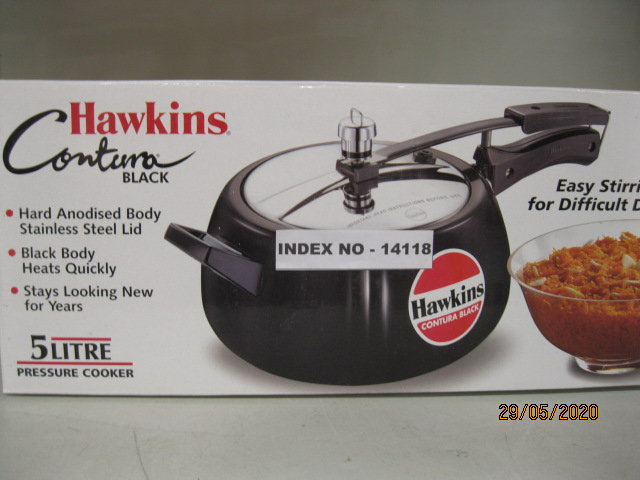 HAWKINS CONTURA BLACK PRESSURE COOKER 5 LTR. WITHOUT SEP