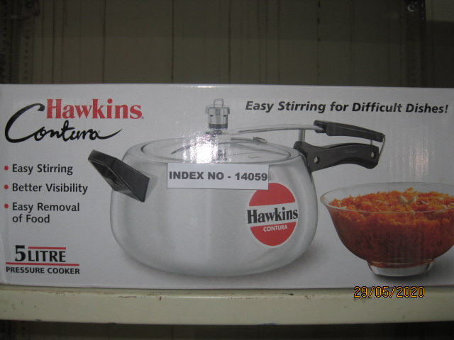 HAWKINS  PRESSURE COOKER CONTURA 5 LTRS  W/OUT SEP