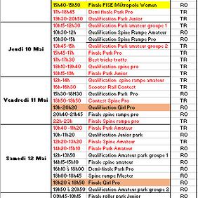 Planning FISE Mis à jour au 07 Mai