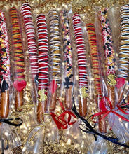 Casino Themed Chocolate Dipped Pretzel Rods