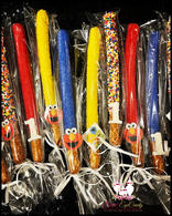 Sesame Street Themed Chocolate Dipped Pretzel Rods