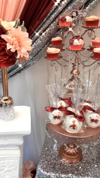 Blush & Burgundy Dessert Table