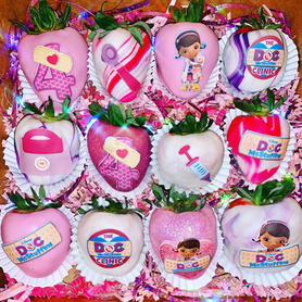 Doc McStuffins Themed Chocolate Covered Strawberries