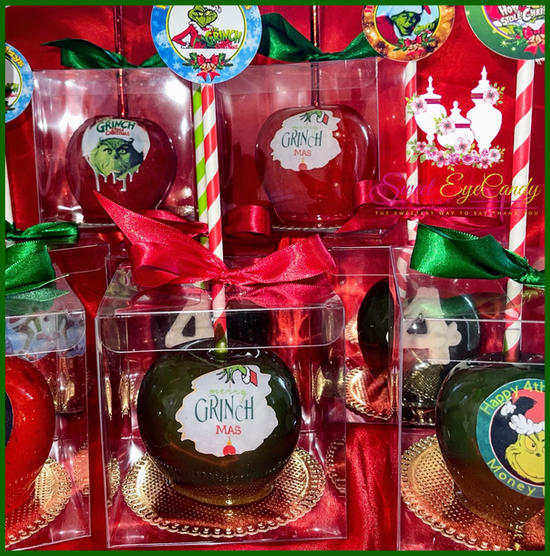 Grinch Themed Candy Apples