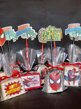 Spiderman Themed Chocolate Covered Rice Krispies