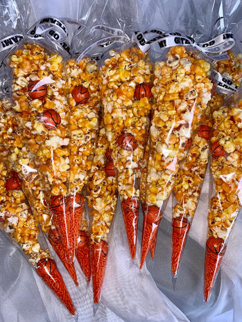 Basketball Themed Candied Popcorn
