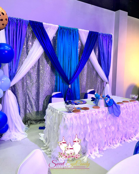 Cookie Monster Baby Shower Head Table w/backdrop