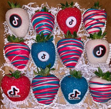 TikTok Themed Chocolate Covered Strawberries