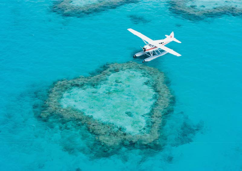 Fly over Heart Reef Whitsundays