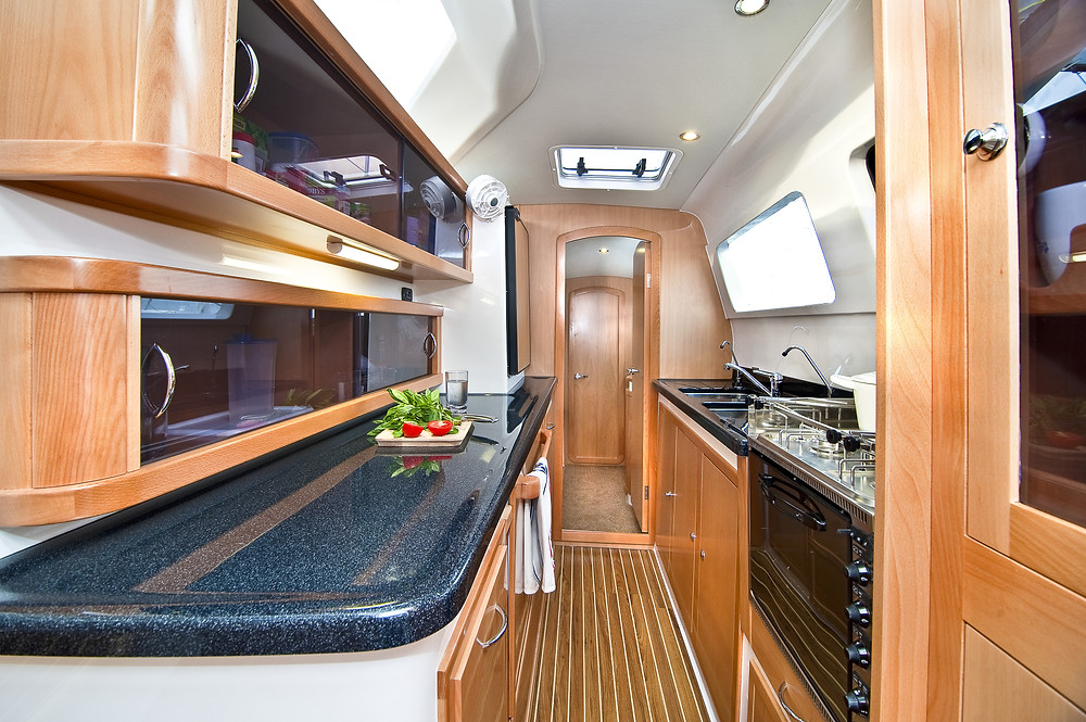 a bareboat galley kitchen in the Whitsundays boat hire fleet