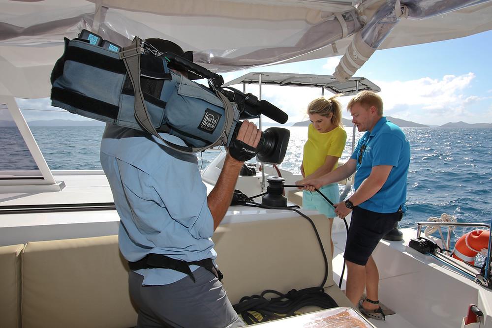 #GoBareboating briefer Tim showing Queensland Weekender presenter Mel Symons the ropes