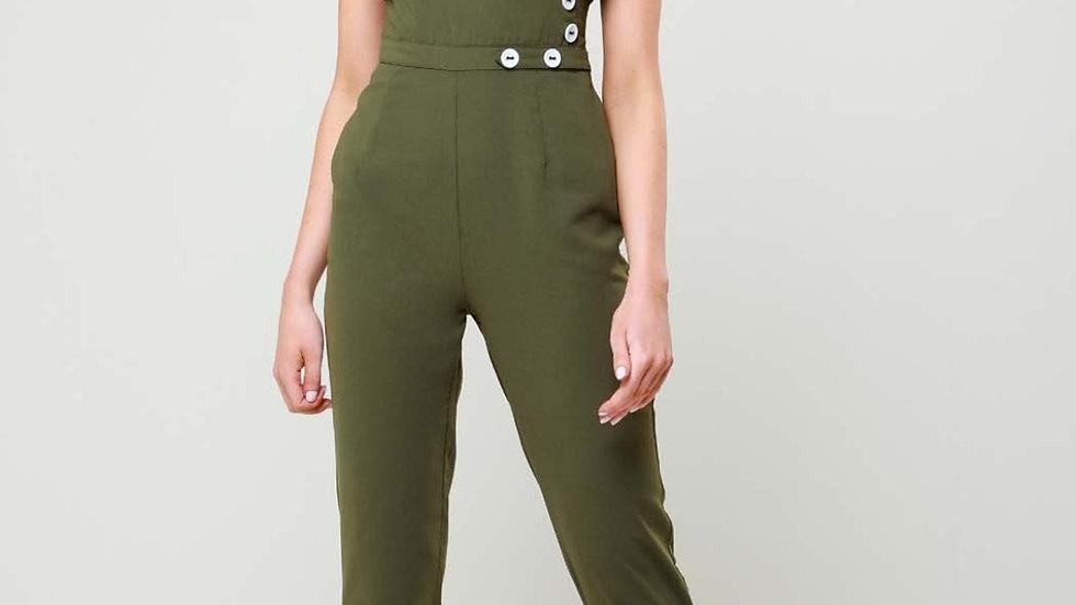 Alana Khaki Contrast Button Jumpsuit