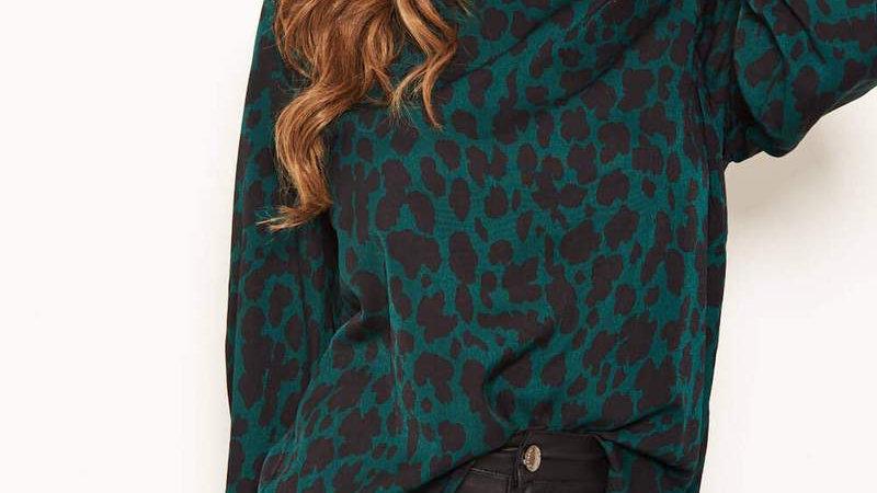 Green Leopard Print High Neck Top