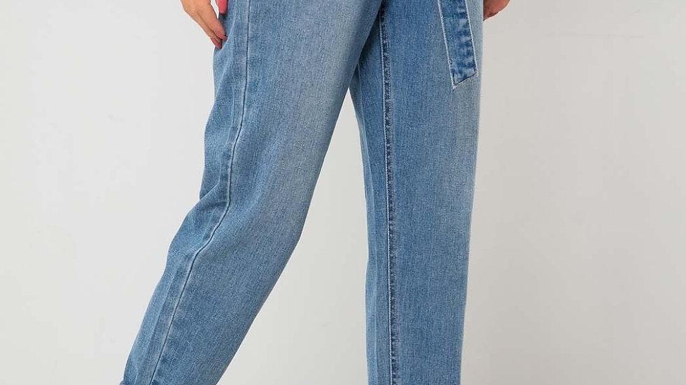 Liv Mid Blue Paperbag High Tie Waist Jean