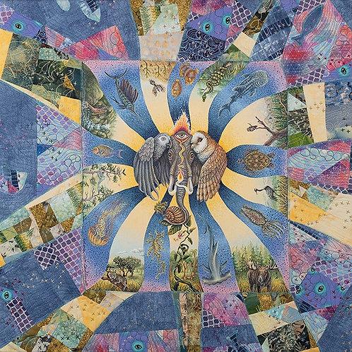 "Original Acrylic Painting & Fabric Construction ""Radiance"" 24""x24"""
