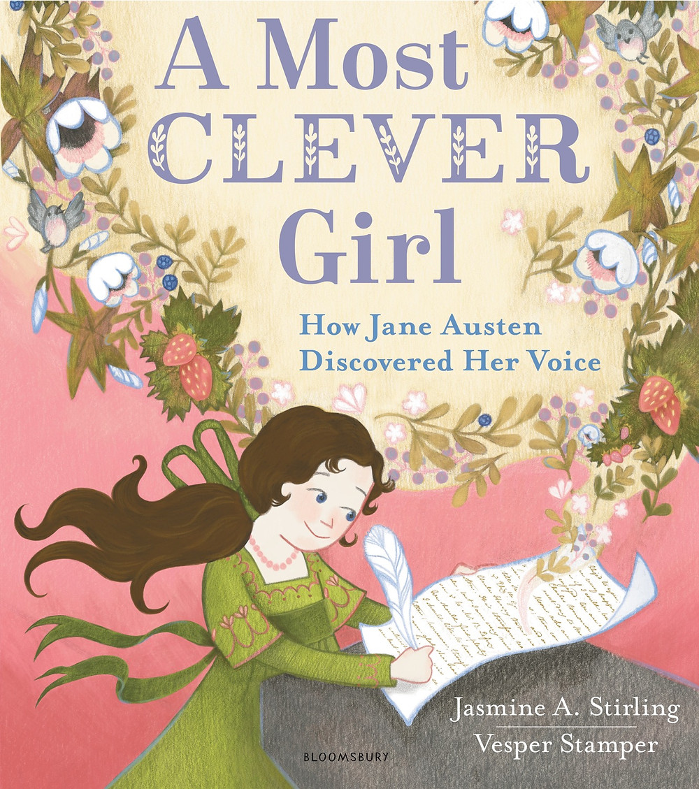 """Book cover for """"A Most Clever Girl:  How Jane Austen Discovered Her Voice,"""" featuring drawing of a young girl at a desk writing with a quill"""