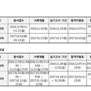 [입시 공지] 2017년 수도권대학 입시날짜요약