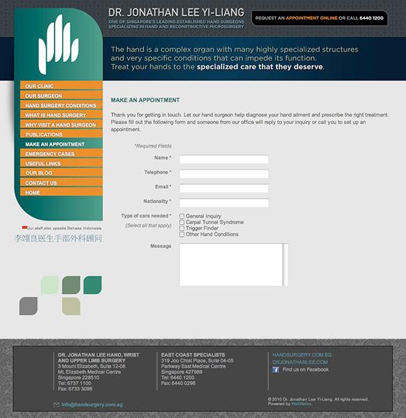 Hand Surgery Clinic Website