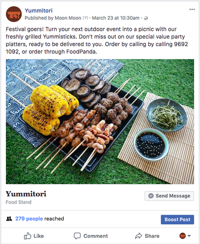 Facebook content creation for Yummitori