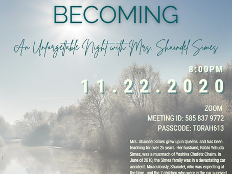 LINK EVENT! Overcoming, Becoming: An Unforgettable Night With Mrs. Shaindel Simes