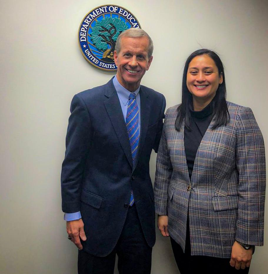 Vice Speaker Telena Cruz Nelson poses with Frank Brogan, Assistant Secretary for Elementary and Secondary Education, after a November meeting to discuss the lifting of GDOE's high-risk designation in Washington D.C.