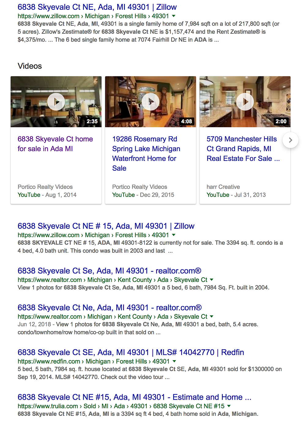 Screenshot of Real Estate Video Production in a Google Search