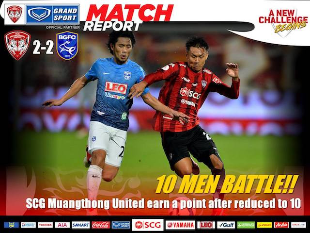 DERBY DRAW!! Ten-man Muangthong halted by rivals
