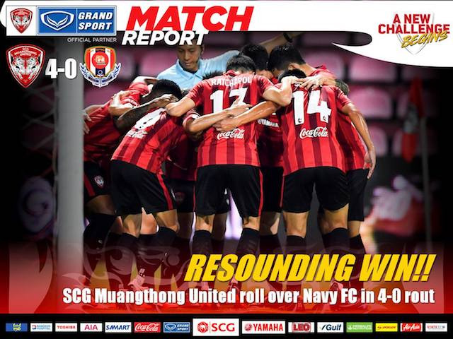 RESOUNDING WIN! SCG Muangthong United roll over Navy FC in 4-0 rout