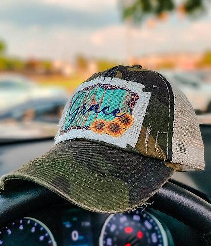 """Ponytail camo """"Grace"""" hat"""