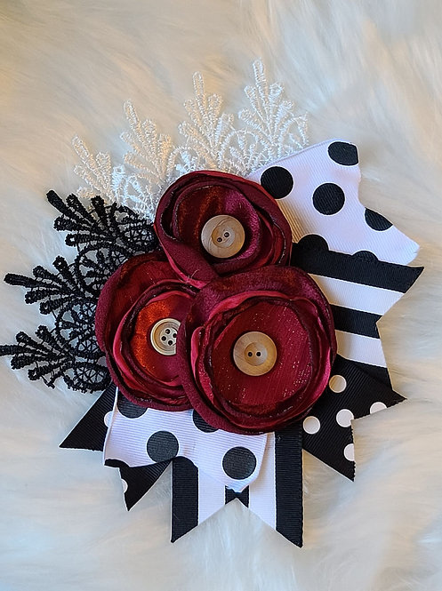 Burgundy polka crochet brooch