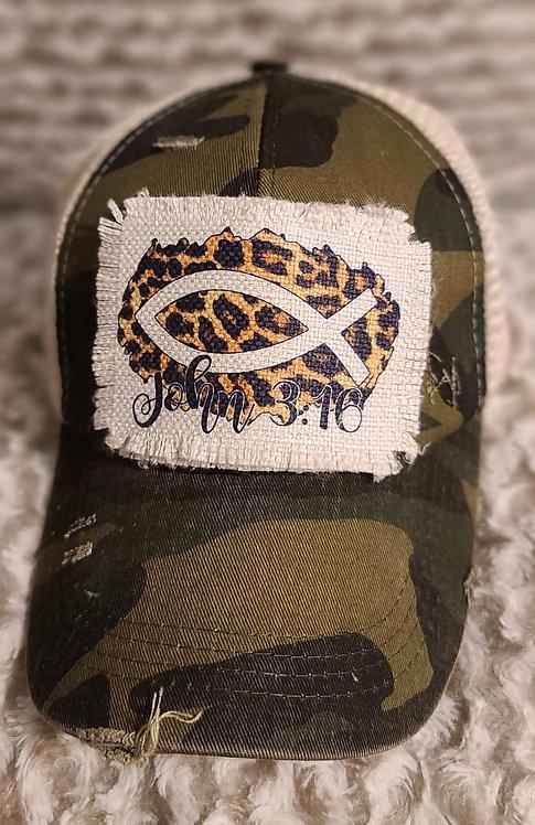 John 3:16 Camo Ponytail Hat