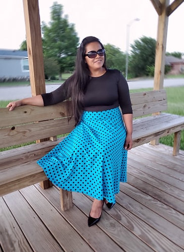 Julia Turquoise Blue  Polka Dots Skirt