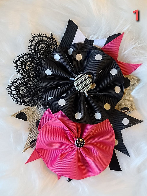Black polka brooch