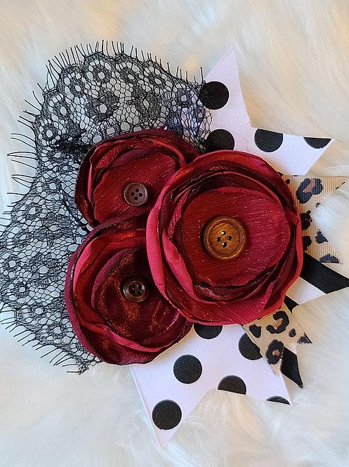 Burgundy polka lace brooch