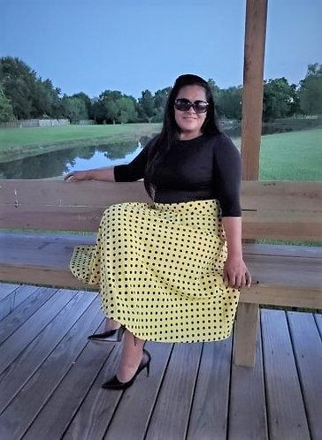 Yellow Julia POlka dots skirt