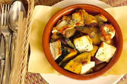 ハルミチーズと野菜のサガナキ
