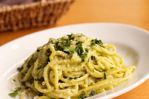 ズッキーニ&ピスタチオのクリームソース、スパゲッティーニ