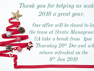 Festive season office closure