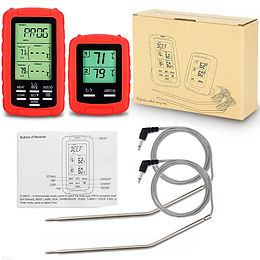2PCS Wireless Meat Thermometer Food Barbecue Thermometer BBQ Grill Smoker Thermo