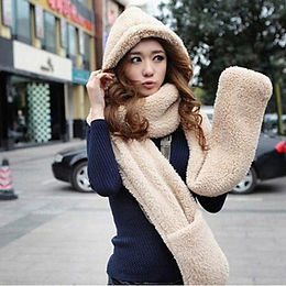 3 in 1 Women Winter Warm Soft Hood Scarf Snood Pocket Hats Gloves 3 Piece Sets