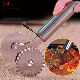 2 in 1 Stainless Steel Double Roller Dual Wheel Pasta and Pizza Cutter Slicer