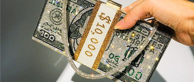 Money Clutch Rhinestone Purse 10000 Dollars Stack