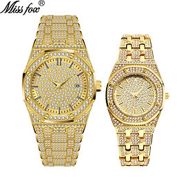 18K Gold Iced Out Lab Dimaond Stainless Steel  Quartz Waterproof Lover's Set