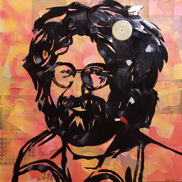SOLD! My #JerryGarcia 36x36 made out of handbroken vinyl records and their packaging
