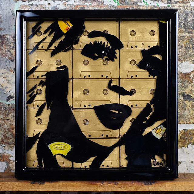 #Beyonce made out of of vinyl records, cassette tapes set in resin in a handmade 14x14 frame