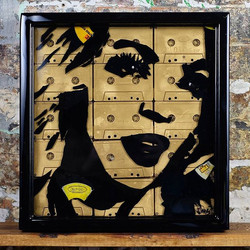 #Beyoncemade out of of vinyl records, cassette tapes set in resin in a handmade 14x14 frame